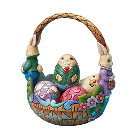 Jim Shore for Enesco 7-Inch Bunny Couple Easter Basket Holding 5 Decorated Easter Eggs, Set of 6 Individual Pieces