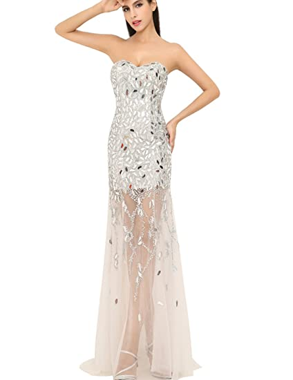 Sarahbridal Womens Long Sweetheart Sequins See Through Prom Dresses Party Cocktail Gowns SXU012 Silver UK12