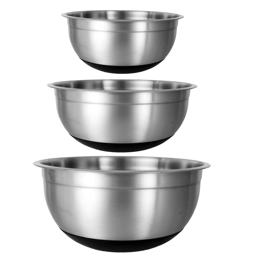 Buckingham Designer Salad/Mixing Bowls, Set of 3, Silver/Black B & I International 16919