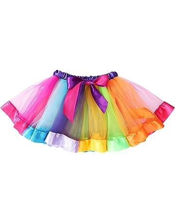 a8bef158bf LUOEM Girls Rainbow Tutu Skirt Costume Layered Dance Performance Skirt for  Girls 4-6
