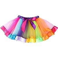 LUOEM Girls Rainbow Tutu Skirt Costume Layered Dance Performance Skirt for Girls 4-6