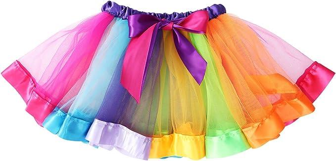 LUOEM Falda de tutú arcoíris en Capas para niñas con Volantes ...