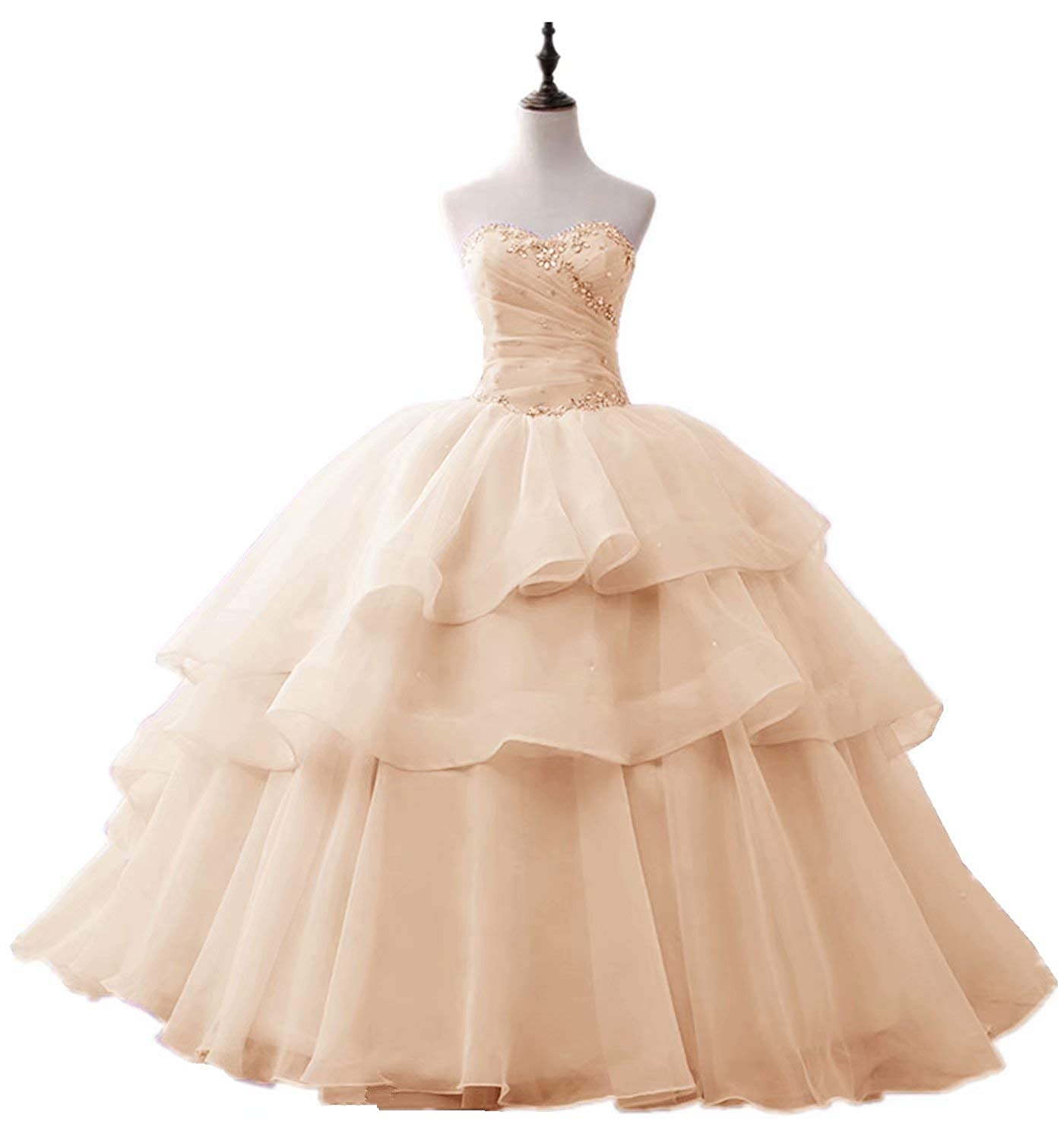 Champagne Fankeshi Womens Elegant Beaded Organza Quinceanera Dress Ball Gown Proncess Party Dress