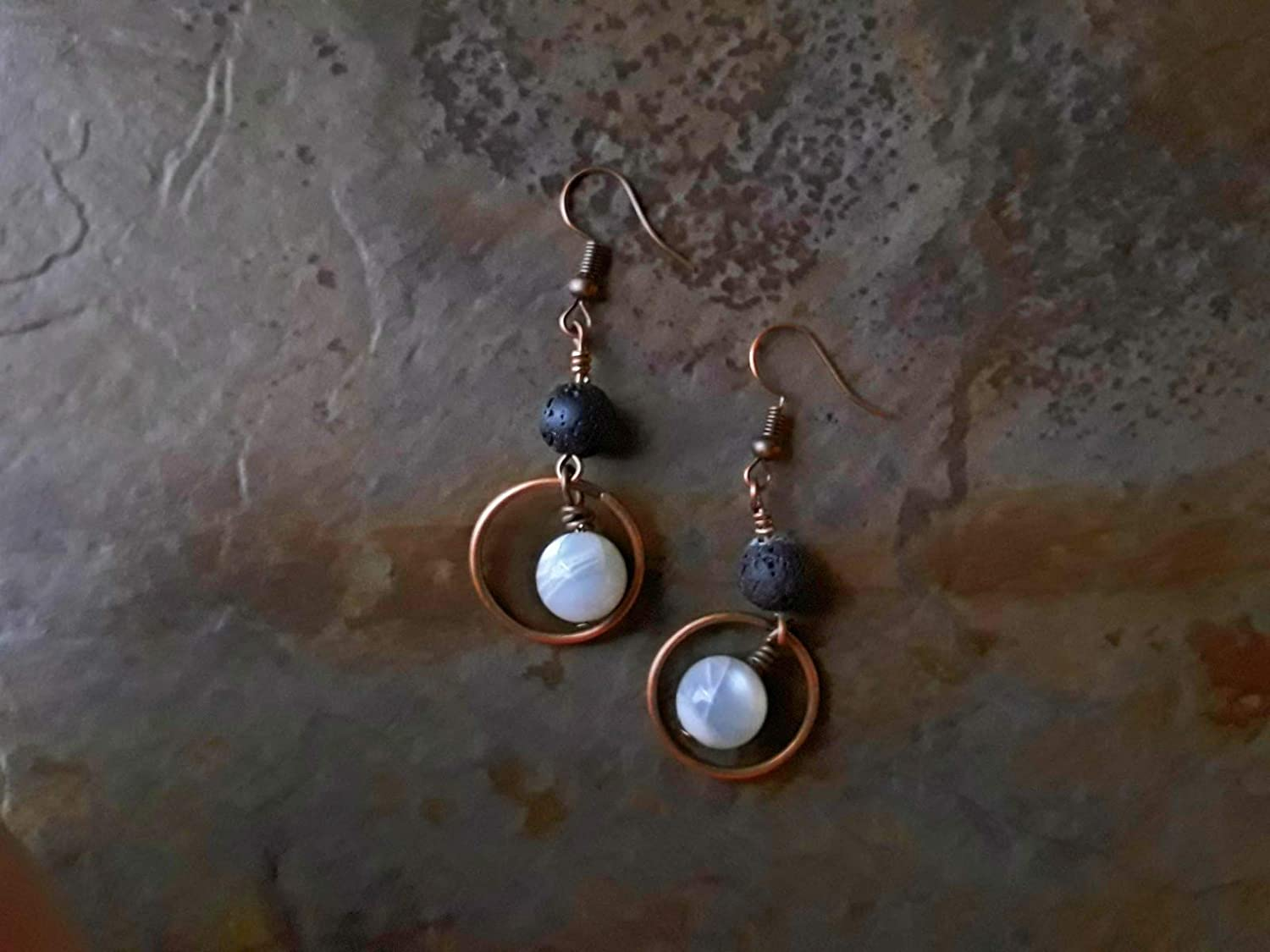 White Moonstone and Lava Stone Dangle Hoop Essential Oil Diffuser Halo Earrings Copper