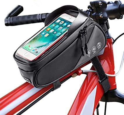 Amazon Com Intsun Bike Bag Bicycle Phone Front Frame Bag Waterproof Bike Phone Mount Bag With Touch Screen Sun Visor Large Capacity Phone Holder Fits Phones Below 7 5 Inches Sports Outdoors