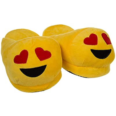 Emoji House Slippers Funny Soft PlushHeart Eyes Smiley Girls S: Fits sizes 13-1 | Slippers
