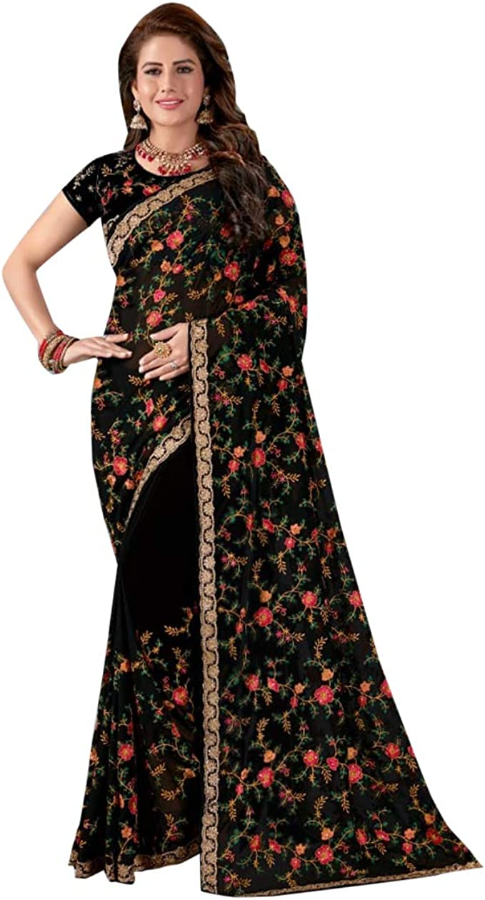 Saree Indian Georgette traditional Designer Party Wear Wedding Saree Blouse1042