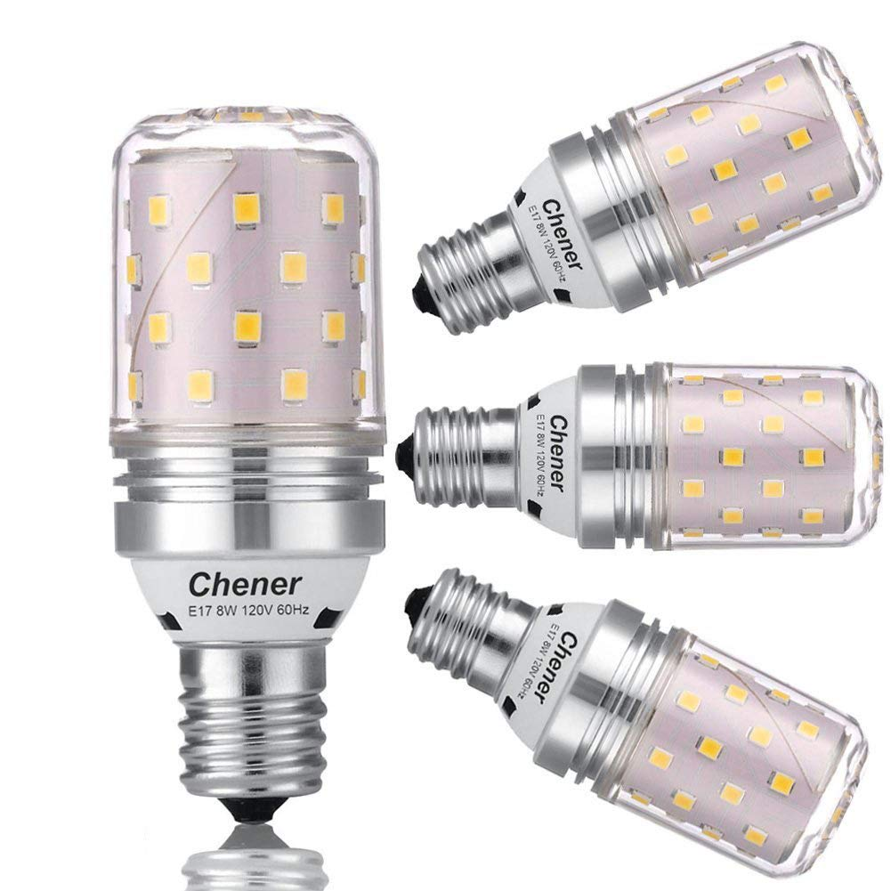 E17 Intermediate Base LED Bulb,8W(60 Watt Light Bulbs Equivalent),Soft White 3000K,Non-dimmable,Metal Shell,360 Degree Angle for Microwave Oven,Ceiling Fan and IKEA Lamp,4 Pack,Chener