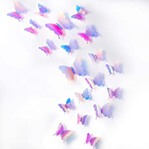 BBTO 48 Pieces DIY Mirror Butterfly Combination 3D Butterfly Wall Stickers Decals Home Decoration (Colorful Pink)