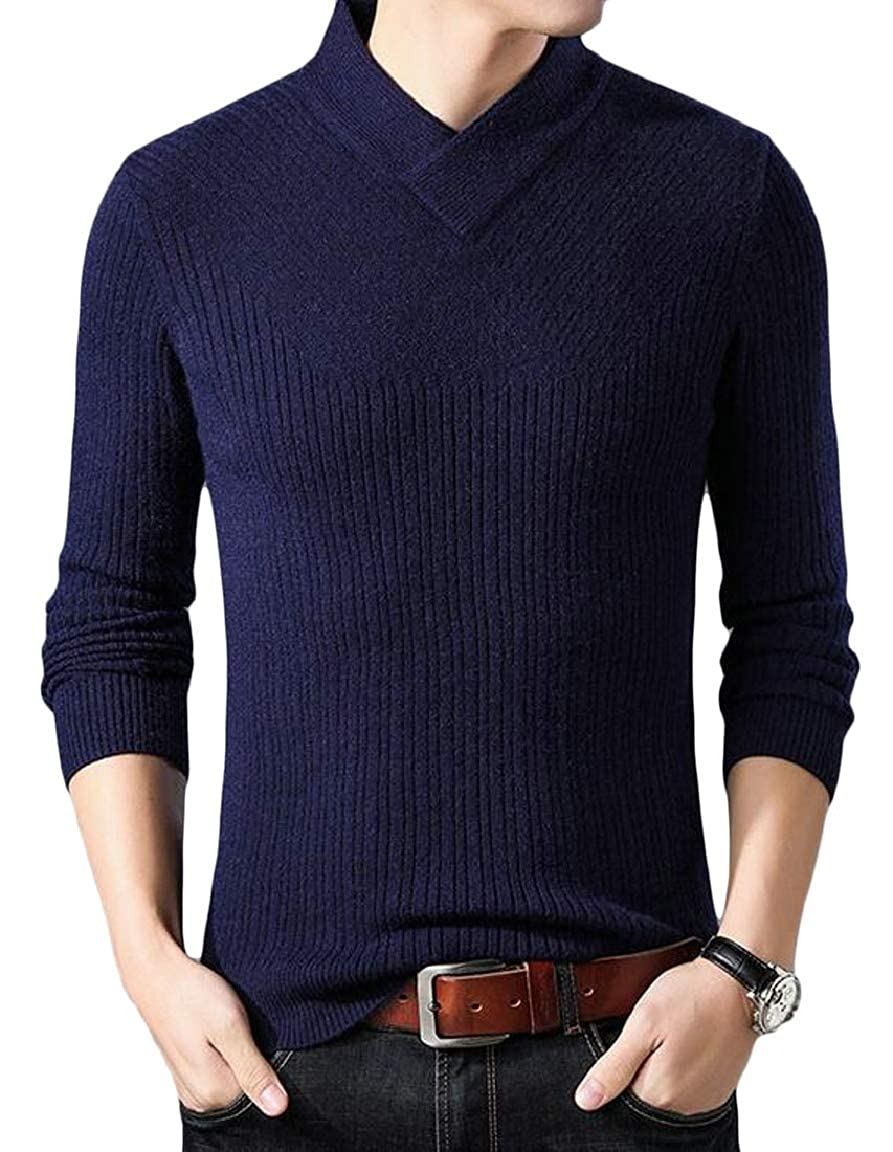 HTOOHTOOH Mens Slim Solid Long Sleeve Soft Stretch V-Neck Casual Pullover Sweater
