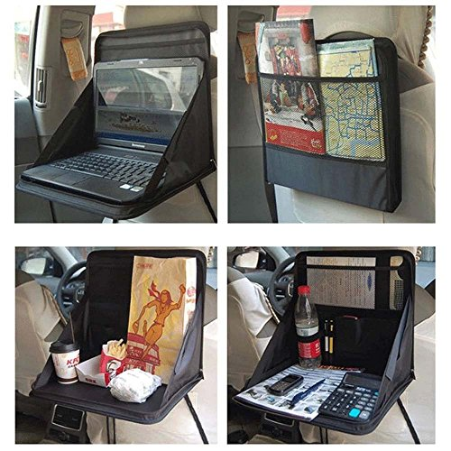 Price comparison product image NeoTek Car Laptop / Eating Back Seat Holder Desk Multi-Functional Portable Travel Oxford Fabric Car Vehicle Seat iPad Drink Food Cup Work Mount Stand Holder Table Organizer - Black
