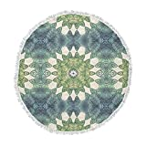 KESS InHouse Art Love Passion Forest Leaves Repeat Green Teal Geometric Round Beach Towel Blanket