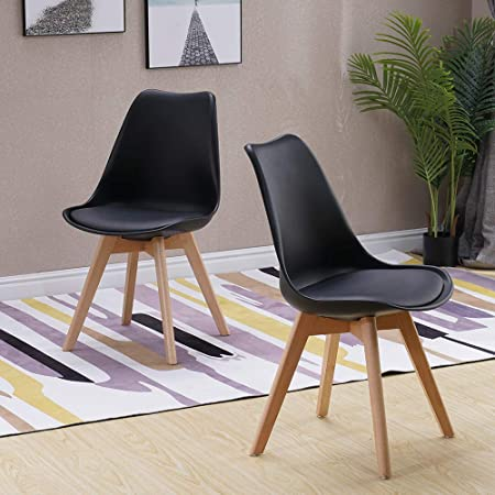 Groovy Homjoy Set Of 2 Modern Design Dining Chairs Retro Lounge Chairs Premuim Plastic Wood And Pu Leather Lorenzo Tulip Chair Black Caraccident5 Cool Chair Designs And Ideas Caraccident5Info