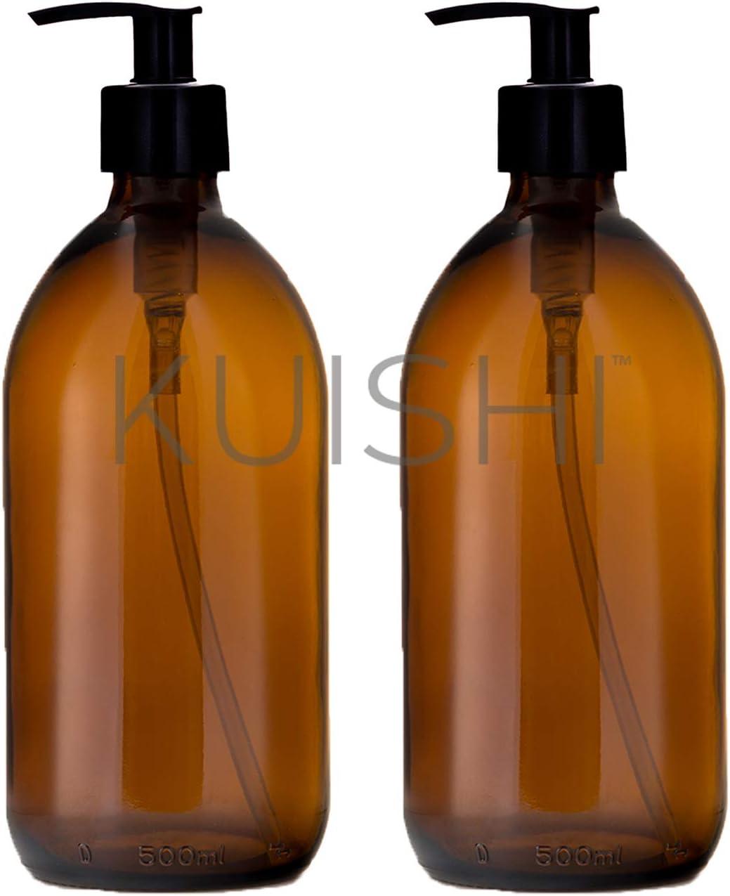 Kuishi Dispensador Jab/ón de Vidrio /Ámbar Senza BPA 500ml, Paquete de 2 Accesorios Ba/ño Botella de Vidrio /Ámbar