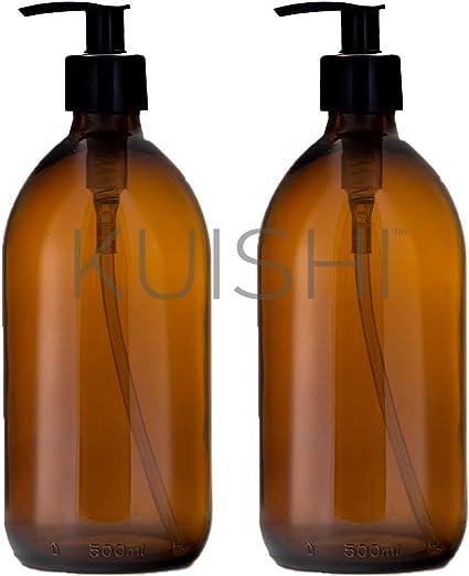 Botella de Vidrio /Ámbar Accesorios Ba/ño 500ml, Paquete de 2 Kuishi Dispensador Jab/ón de Vidrio /Ámbar Senza BPA
