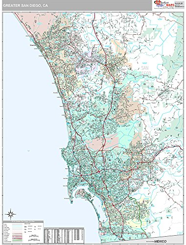 Greater San Diego, CA Metro Area Wall Map (Premium Style, Wooden Rails, 48x64 inches) -