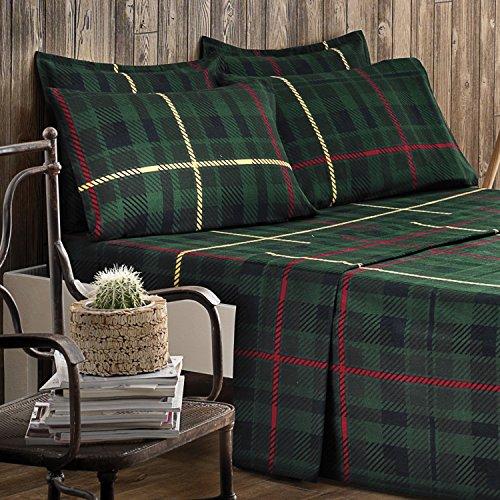 Brielle 100-Percent Cotton Flannel 4 Piece Sheet Set, Twin / Twin XL, Green Plaid (Plaid Bedding Xl Twin)
