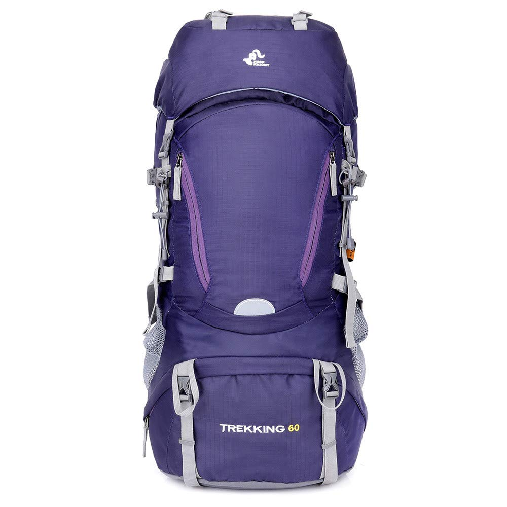 Boens Trekking Bag 60L Outdoor Backpack- Rugged Weather Resistant Great Rucksacks Multi-Purpose Bag Rucksack for Trekking for Travel Outdoor Hiking Camping -Purple