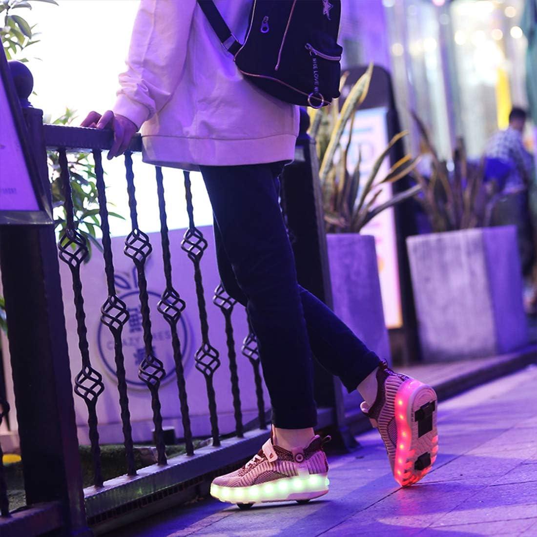 srder-USB Rechargeable Laufschuhe Sportschuhe Kinder Skateboard Schuhe Blinkschuhe Kinderschuhe mit Rollen LED Skate Rollen Schuhe Trainer Gymnastik Sneakers f/ür Junge M/ädchen Weihnachten Ostern