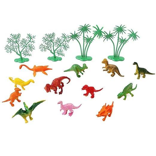 rycnet - Juego de 16 Adornos para Tarta con diseño de Dinosaurio de la Jungla
