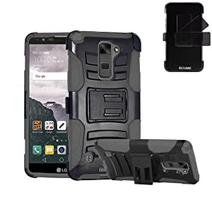 LG Stylo 2 Plus Case, IECUMIE Duo Armor Skin Protective Cover Case W/ Stand, Belt Clip, & Holster for LG G Stylo 2 Plus - Gray