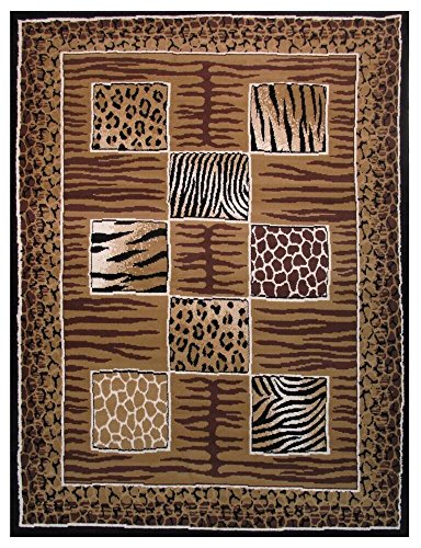 Tiger Skin Rug - Rugs 4 Less Collection Modern Animals Skin Print Leopard Giraffe Tiger Skin Mix Area Rug R4L 12-009 (5'X7')