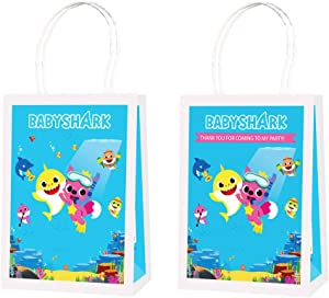12 Shark Party Bags Supplies Birthday Goodie Favor Candy Goody for Baby Cute Shark Bday Decorations