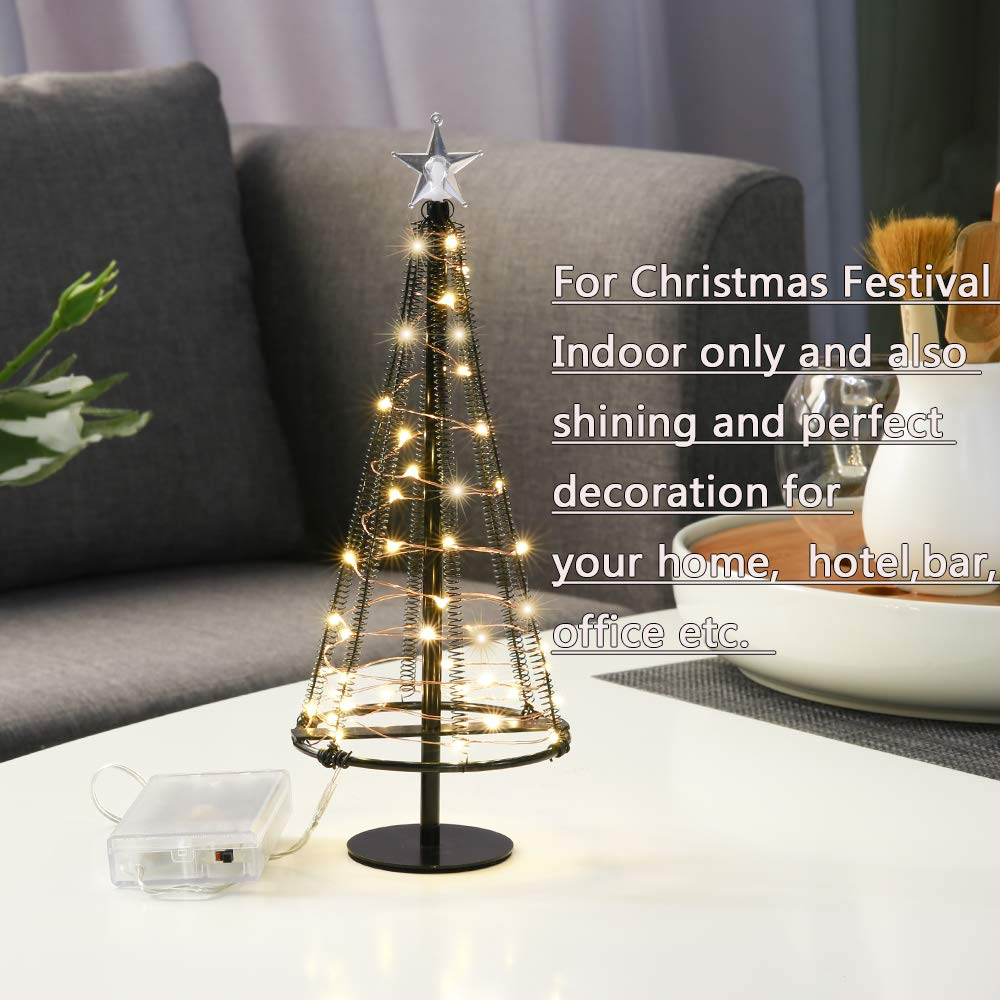 HONESTY Christmas Tree,Mini Christmas Tree,Table Decorations,Metallic Lamp, 40 Warm White LEDs on Copper Wire, Table Lamp & Nice Decorations for Your Rooms, 10.2 inch Tall, Black