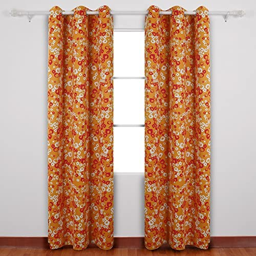 Deconovo Decorative Bubbles Circle Printed Thermal Insulated Blackout Drapes for Nursery One Pair Grommet Curtains, 42X84Inch, Orange and Red