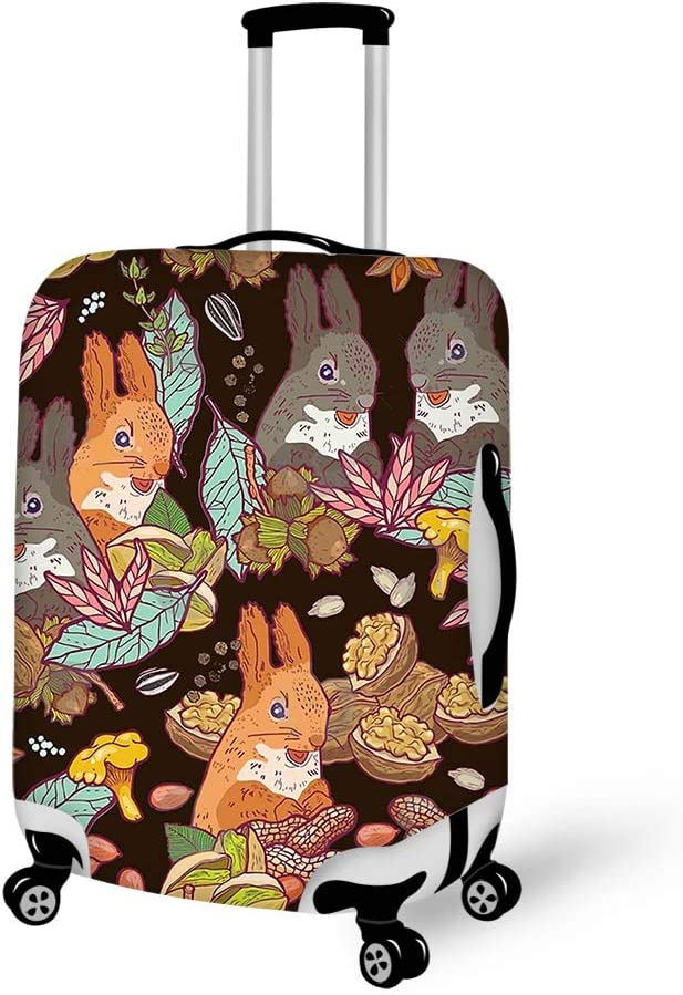 Luggage Cover Walnut Nuts And Squirrels Protective Travel Trunk Case Elastic Luggage Suitcase Protector Cover