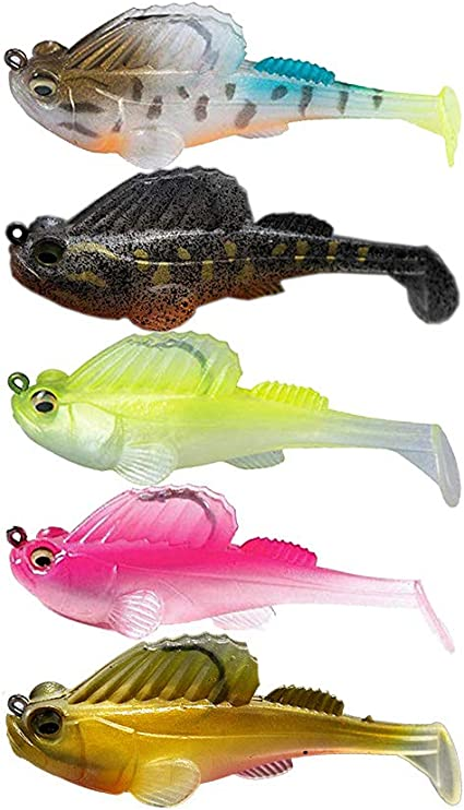 5 Packs PVC Soft Fishing Lures Artificial Baits for Bass Trout Pike Walleye