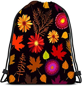 Drawstring Backpack Gerberas Asters Birch And Maple Leaves 1950S 1960S Motifs Retro Laundry Bag Gym Yoga Bag