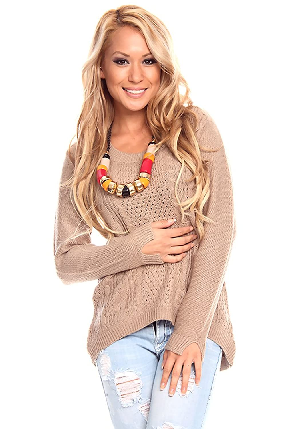 LOLLI COUTURE ROUND NECK LONG-SLEEVE PULL-OVER HIGH-LOW SWEATER
