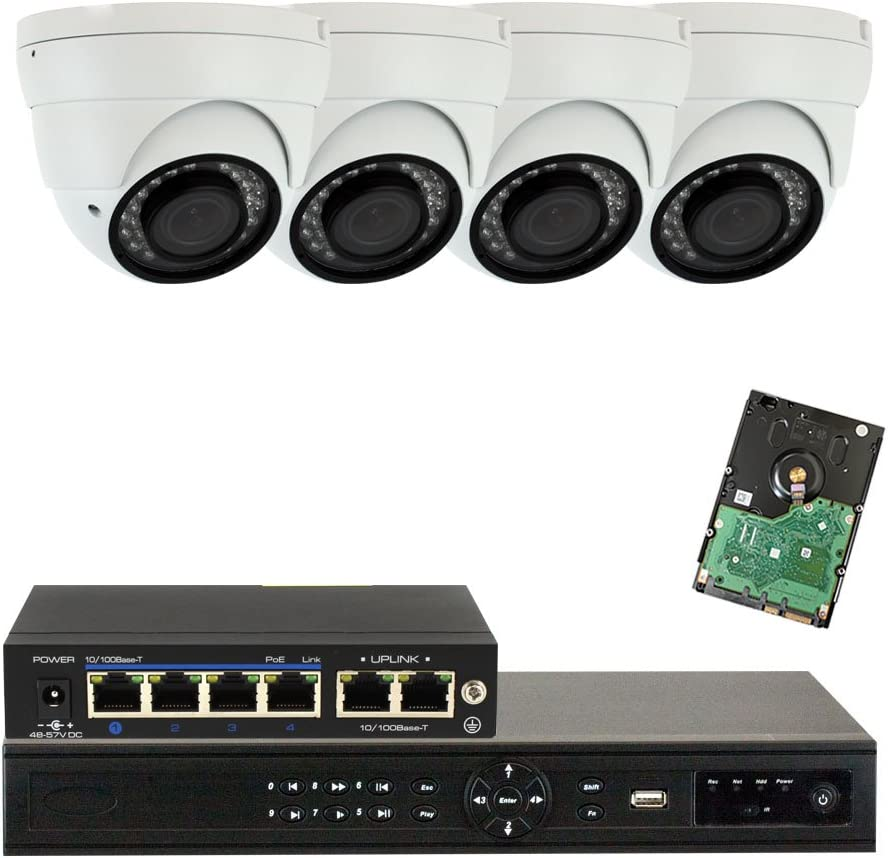 GW Security 5MP 8CH NVR Video Surveillance Camera System Kit – 4 x HD 5MP 1080P CCTV Waterproof Dome PoE IP Camera