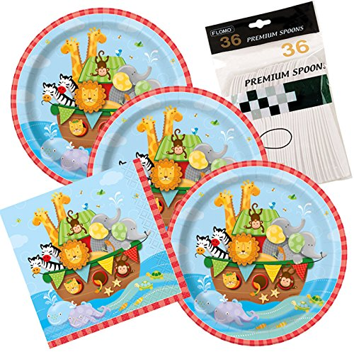 Noah's Ark Baby Shower Party Themed Dessert Plates And Napkins includes Spoons Serves 32 (Noah Ark Baby Shower)