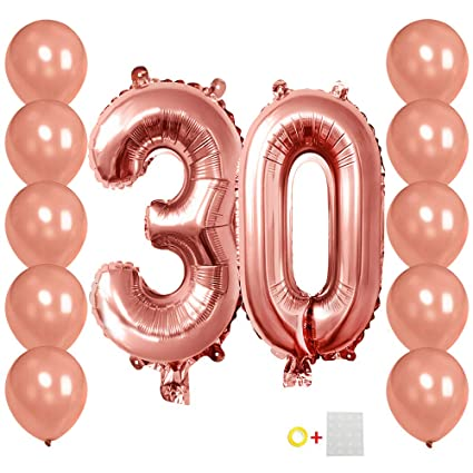 30 Number Balloons Rose Gold 3 And 0 Mylar Balloon With 10Pcs Latex Balloons12