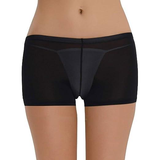 9fe9d97a7ed Zukzi Women s Boy Shorts Underwear Sexy See Thru Shorts Hot Pants at ...