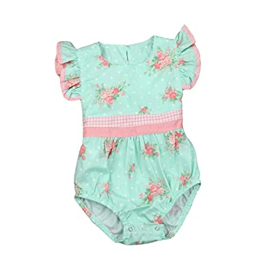 Amazon.com  KLV Baby Girl Rompers Summer Girls Clothing Flower Newborn Baby  Clothes Cute Baby Jumpsuits  Clothing 87173f261