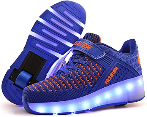 LED Lighting up Shoes with Wheels Roller Skate Shoes Sport Sneaker for Little Kid//Big Kid