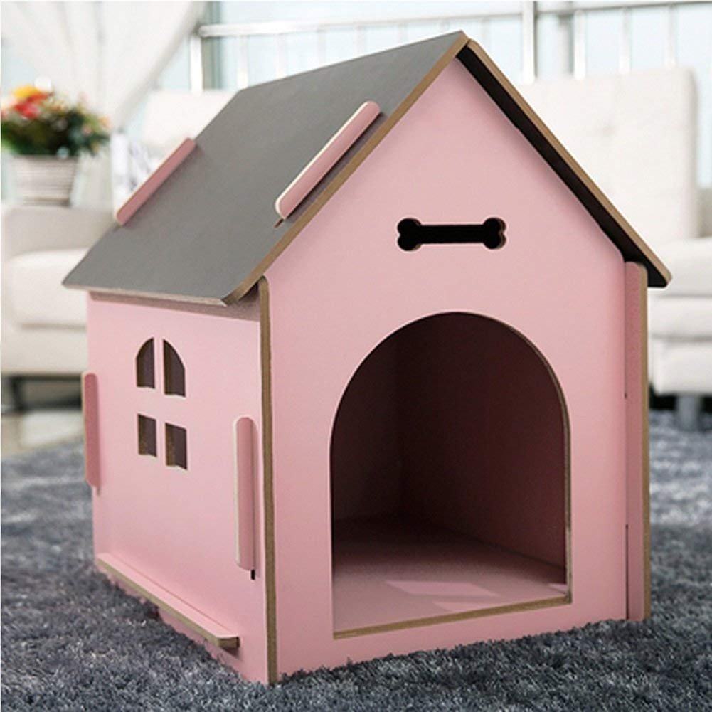 Medium HeiPlaine Pet Sofa Cats and Dogs Pet Room House Wood Quality Pink Four Seasons Available 3 Size Can Be Selected (Size   M) (Size   Medium)