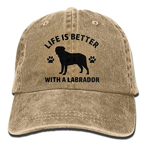 Mens Womens Baseball Cap Hat Life is Better with A Labrador Vintage Jean Trucker Hat for Men