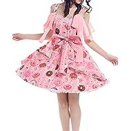 5b6dbb8fc0 Nuoqi Lolita Dress Womens Sweet Suit Lace Chiffon Ruffle Skirt Costume