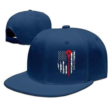 Amazon.com  Lacrosse American Flag Flexfit Cap Baseball Hats Fashion ... 11a6434eec
