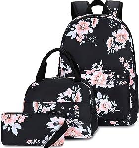 School Backpacks for Teen Girls Lightweight Canvas Backpack Bookbags Set (074-Black Flower)