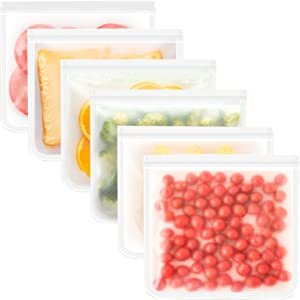 Reusable Storage Bags, 6 Pack Reusable Gallon Bags BPA Free Reusable Food Storage Bags Extra Thick Leakproof Reusable Freezer Bags Food Grade PEVA Resealable Zipper Bags for Food Storage
