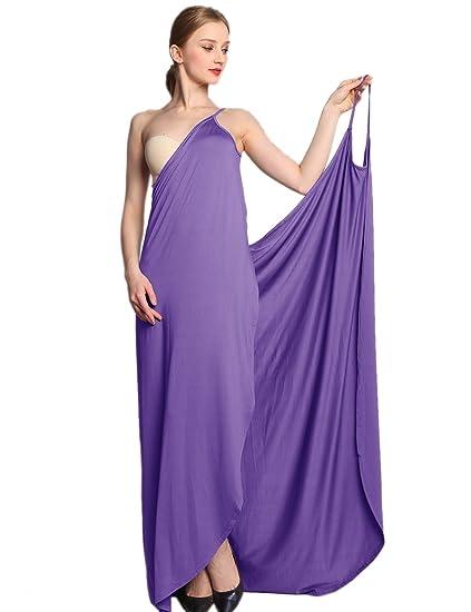 7558389690e EMMA Women s Sexy V-Neck Spaghetti Strap Backless Solid Color Sarong Wrap  Dress Long Peach