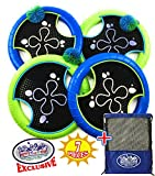 Matty's Toy Stop Deluxe Trampoline Extreme Paddle Ball Set for 4 Players - Includes 4 (12'') Trampoline Paddles, 3 Rubber String Balls & Storage Bag