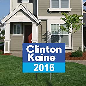 """BuildASign Clinton Kaine 2016 Democratic Party Presidential Election Political Yard Sign with Ground Stake Blue - 12"""" x 18"""""""