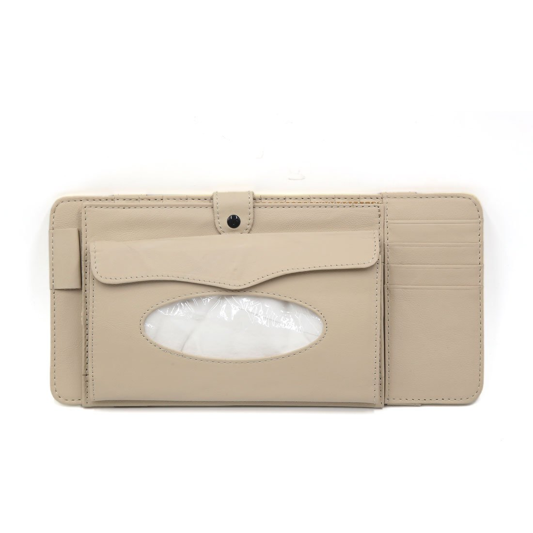 uxcell a17021400ux0721 Beige PU Leather Car Sun Visor Multifunctional Double-Deck CD Holder Tissue Box