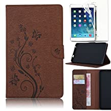Samsung Galaxy Tab E 9.6 inch SM-T560 Folio Case, Bonice Vintage Embossed Flower Butterfly Pattern PU Leather Wallet Cover with Card Slots Magnetic Snap Anti-scratch Shell + HD Screen Protector, Brown